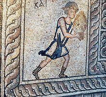 Figure carrying offering, mosaic floor, 5th century AD Early Christian, from basilica, Delphi, Greece (detail) by PhotoStock-Isra