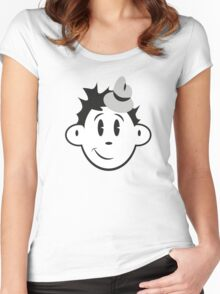 Vintage Black and White Cartoon Character Women's Fitted Scoop T-Shirt