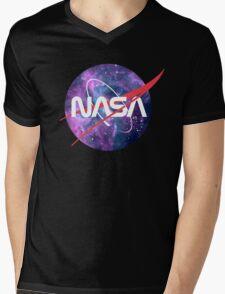 NASA Retro Nebula Logo Mens V-Neck T-Shirt