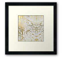 White And Gold Marble Framed Print