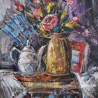 Still Life with teapot and Fan by Stefano Popovski