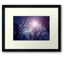 Dark enchanted photo of a full moon in the trees branches background. Blue and violet fairy-tale colors Framed Print