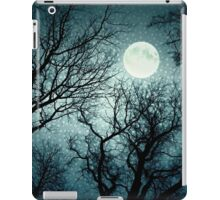 Dark enchanted photo of a full moon in the trees branches background. Blue fairy-tale colors iPad Case/Skin