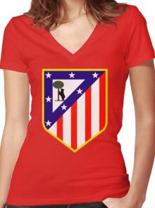 atletico madrid Women's Fitted V-Neck T-Shirt