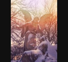 Angel statue illuminated by sunlight. Cemetery during the winter Unisex T-Shirt