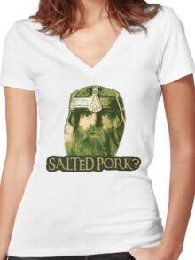 Salted Pork Women's Fitted V-Neck T-Shirt