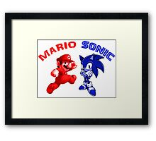Mario & Sonic, 90's best friends Framed Print