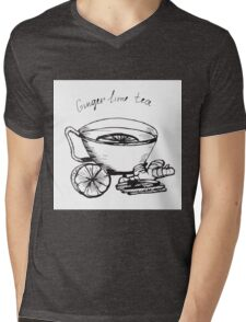 Illustration  cup of tea with lime and ginger. Mens V-Neck T-Shirt