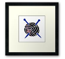 Galaxy Wool with Blue Knitting Needles Framed Print