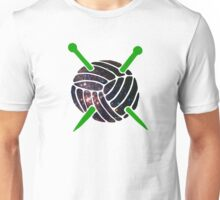 Galaxy Wool with Green Knitting Needles Unisex T-Shirt