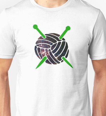 Galaxy Wool with Green Knitting Needles Unisex T-Shirt