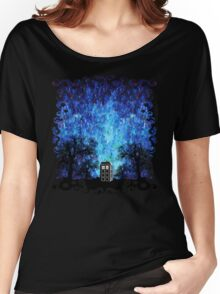 Lonely time travel phone box art painting Women's Relaxed Fit T-Shirt