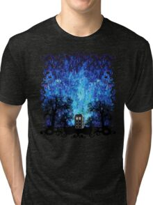 Lonely time travel phone box art painting Tri-blend T-Shirt
