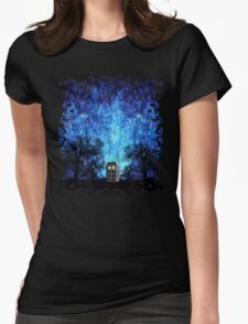 Lonely time travel phone box art painting Womens Fitted T-Shirt