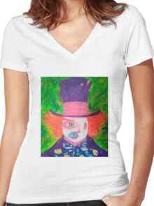 the mad hatter Women's Fitted V-Neck T-Shirt