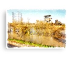 Rome: Tiber River gasometer and industrial archeology Canvas Print