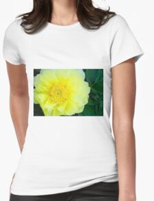 Yellow Peony Womens Fitted T-Shirt