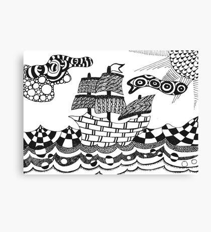 Zentangle ship Canvas Print