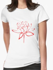 Lotus Flower Calligraphy (Red) Womens Fitted T-Shirt