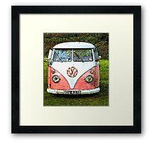 Pink Vw Camper Van Framed Print