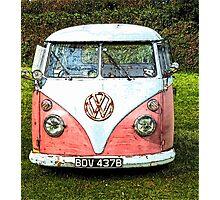 Pink Vw Camper Van Photographic Print
