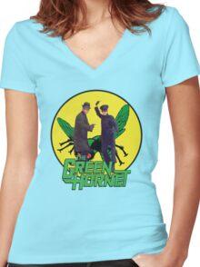 Funny Green Hornet Women's Fitted V-Neck T-Shirt