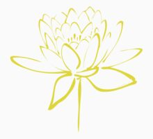 Lotus Flower Calligraphy (Yellow) One Piece - Short Sleeve