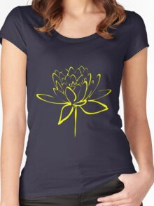 Lotus Flower Calligraphy (Yellow) Women's Fitted Scoop T-Shirt