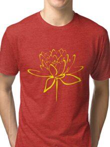 Lotus Flower Calligraphy (Yellow) Tri-blend T-Shirt