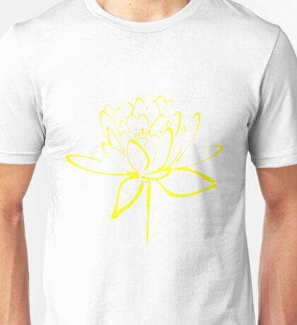 Lotus Flower Calligraphy (Yellow) Unisex T-Shirt