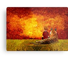 Cute Little Boy with the lazy tiger Metal Print