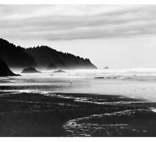 Black and White Seascape At Hug Point Photographic Print