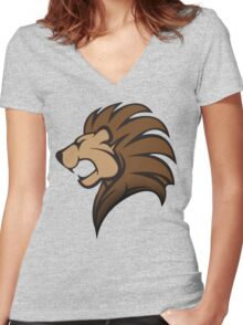 Lion Graphic Women's Fitted V-Neck T-Shirt