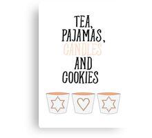 Tea Pajamas Candles Cookies Canvas Print