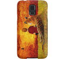 Cute Little Boy with the lazy tiger Samsung Galaxy Case/Skin