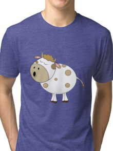 Cute Moo Cow Cartoon Animal Tri-blend T-Shirt
