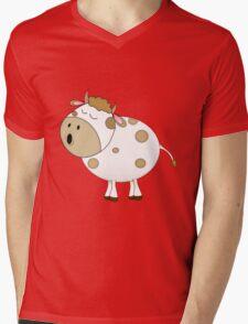 Cute Moo Cow Cartoon Animal Mens V-Neck T-Shirt