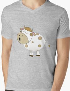 Cute Moo Cow Cartoon Animal Mens V-Neck T-Shirt