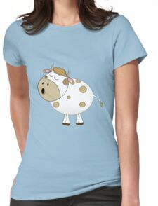 Cute Moo Cow Cartoon Animal Womens Fitted T-Shirt