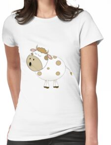 Cute Moo Cow Cartoon Animal Womens Fitted T-Shirt