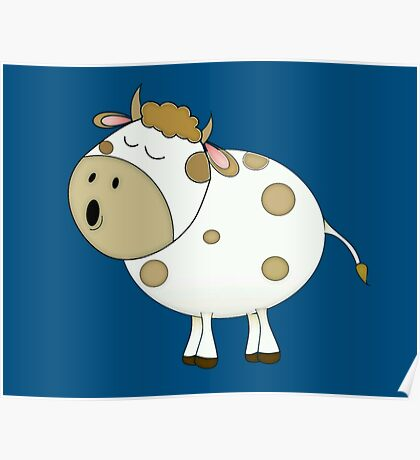 Cute Moo Cow Cartoon Animal Poster