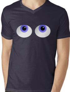 Big Blue Cute Cartoon Eyes Mens V-Neck T-Shirt