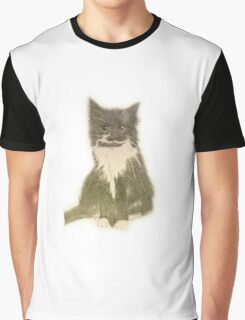 Black and white fluffy cat Graphic T-Shirt