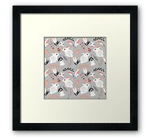Rabbits and flowers 007 Framed Print