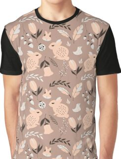 Rabbits and flowers 008 Graphic T-Shirt