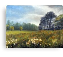 Landscape with daffodils Canvas Print
