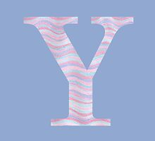 Initial Y Rose Quartz And Serenity Pink Blue Wavy Lines by theartofvikki