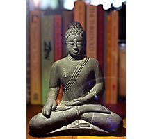 Bookshelf Buddha Photographic Print
