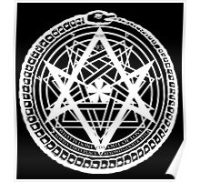 Thelemic Babalon Ouroboros with Nietzsche quote and Enochian script Poster