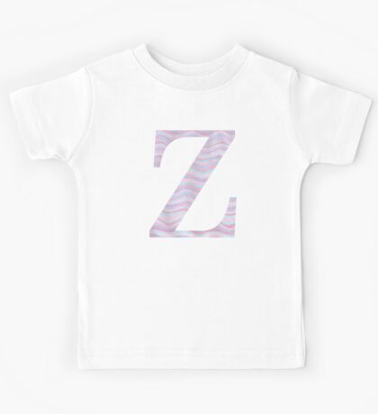 Initial Z Rose Quartz And Serenity Pink Blue Wavy Lines Kids Tee